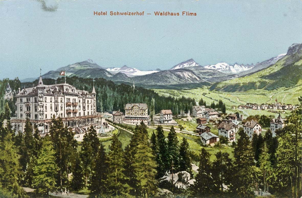 hotel schweizerhof-farbige-historische postkarte
