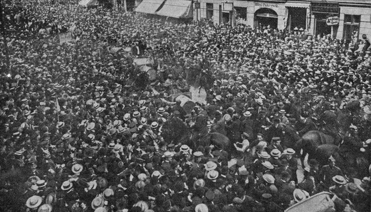 Autorennen Berlin 1908 Ankunft
