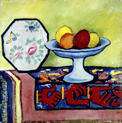 August Macke, Stilleben mit Apfelschale und japanischem Fächer,